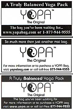 Fit Yoga, Yoga International, Yoga Journal, Yoga + Joyful Living - YOPA yoga backpack.