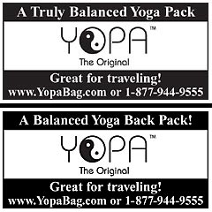 Fit Yoga, Yoga International, Yoga Journal, Yoga + Joyful Living - YOPA yoga back pack.
