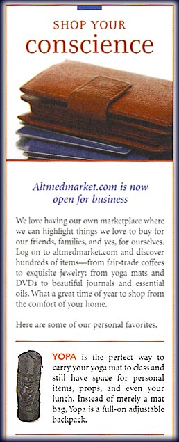 YOPA, Alternative Medicine, December 2006, page 10, yoga back pack.