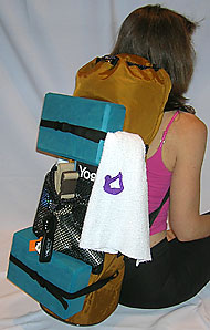 YOPA yoga backpack holds Pilates blocks with straps.