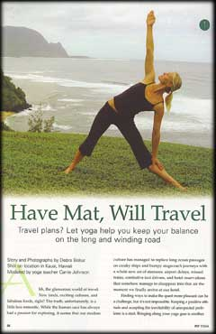 YOPA in Fit Yoga Magazine, August 2005 - yoga backpack.