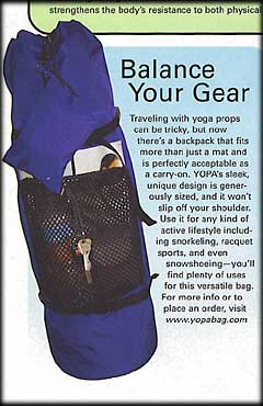YOPA in Fit Yoga Magazine, August 2005 - sport utility backpack.