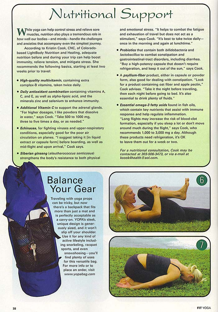 Fit Yoga Special Fifth Anniversary Issue - April 2009 - YOPA yoga backpack.