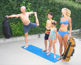 Family with kids with YOPA yoga backpack, Pilates backpack, sport backpack combination.