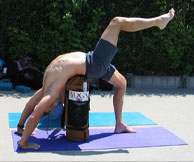 Yoga instructor with YOPA yoga pack, a yoga backpack with so many uses.