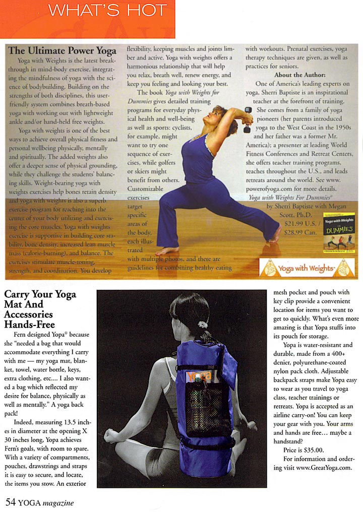 YOGA Magazine, Issue 57, 2007 - YOPA Crossover Backpack for yoga, Pilates, sports.