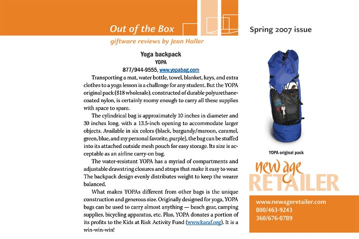New Age Retailer, Spring 2007, YOPA original crossover yoga backpack.