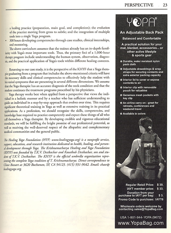 International Journal of Yoga Therapy, No. 19, 2009 - yoga back pack.
