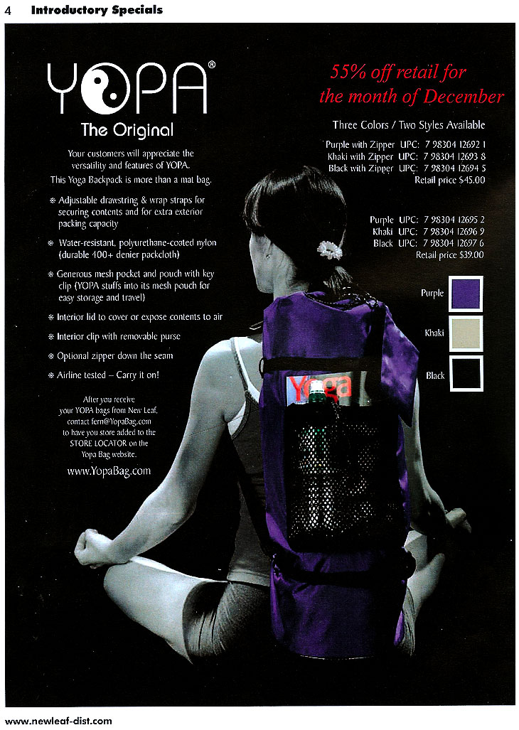 New Leaves update August and December 2010 - versatile yoga backpack.