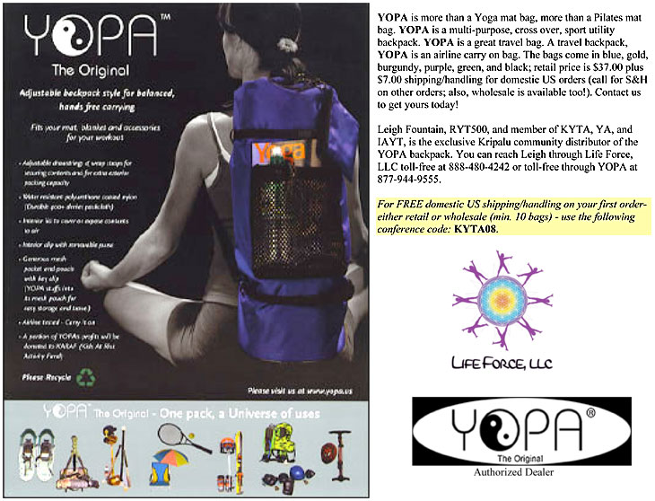 Kripalu center for yoga & health Conference, August 22-25, 2008 - yoga sport backpack.