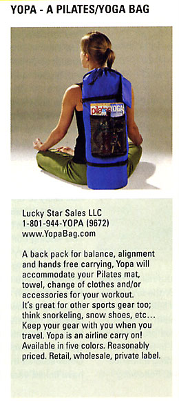 pilatesstyle 2008 Resource Guide - yoga Pilates sports back pack.