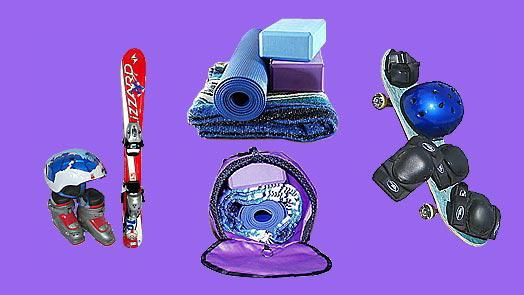 Yoga back pack works for kid's ski / skiing equipment, sports equipment, skate board, skate boarding equipment.